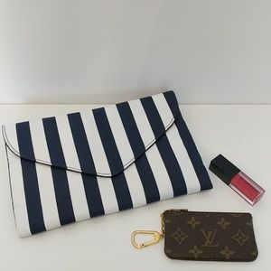 JCrew Navy and White Striped Clutch with Strap NWT
